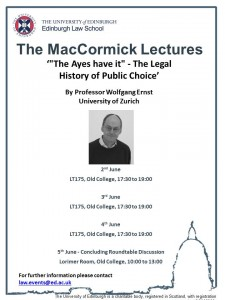 Event poster MacCormick Lectures